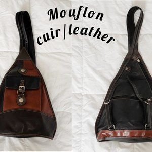 VTG Mouflon black and cognac leather backpack